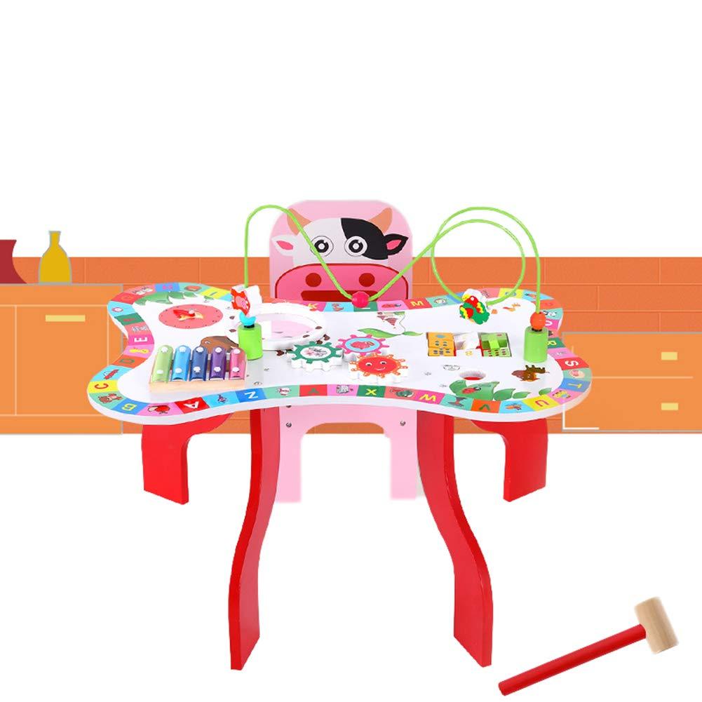 Bambini Tavolo da Gioco Bambino educazione educativo Giocattoli Tavolo Sedia in Legno Multifunzionale Bambino tavola rossoonda Perline Studio