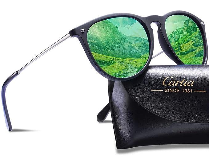 Carfia Gafas de Sol Polarizadas, UV400 Gafas de Sol Polarizadas Metal de Moda para Conducción