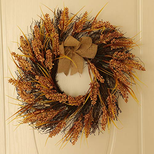 Icocol Decorative Front Door Wreath 24 Inch - Year Round Beautiful Silk Wreath Transforms Front Door Decor, Handcrafted with Care, Storage Gift Box Included -