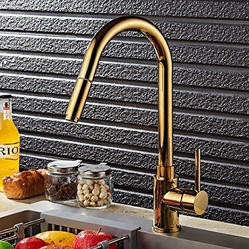 Lovedima Kitchen Faucet with Pull Down Sprayer, Single Handle 1 Hole High Arc Pull Out Gold Kitchen Sink Faucet