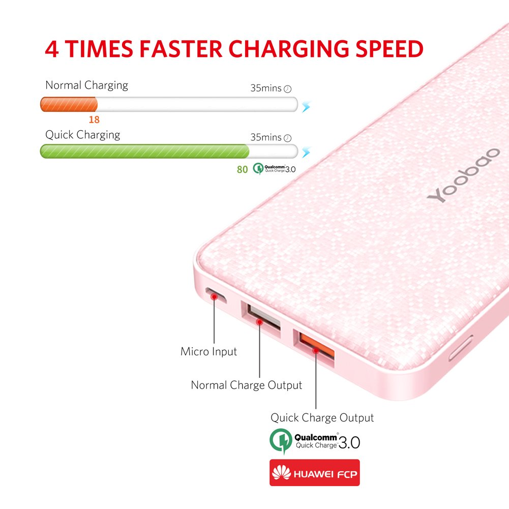 Yoobao Portable Charger 12000mAh Ultra Slim Power Bank Q12 Qualcomm Quick Charge 3.0 External Battery Pack Fast Charge Powerbank Compatible Samsung ...