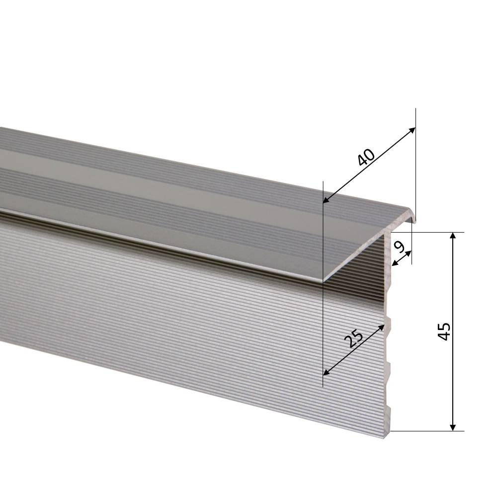 Aluminium eloxiert 800 mm, Gold Trepsa Treppenkantenprofil Trepsa Profil 4 mit Abschluss-Clip