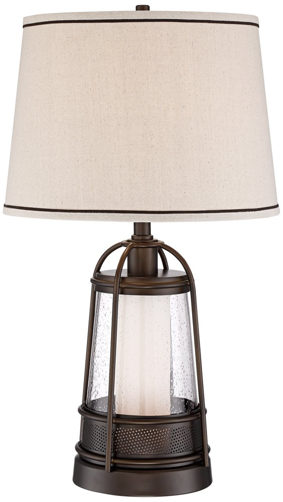 Hugh 26'' High Bronze Lantern Table Lamp with Night Light by Franklin Iron Works