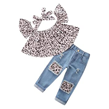 Trada 3PC Kinder Baby Mädchen Outfits Leopard Schulterfrei Tops + Loch Jeans  + Stirnband Kleidung Kind 51ecd5f46d