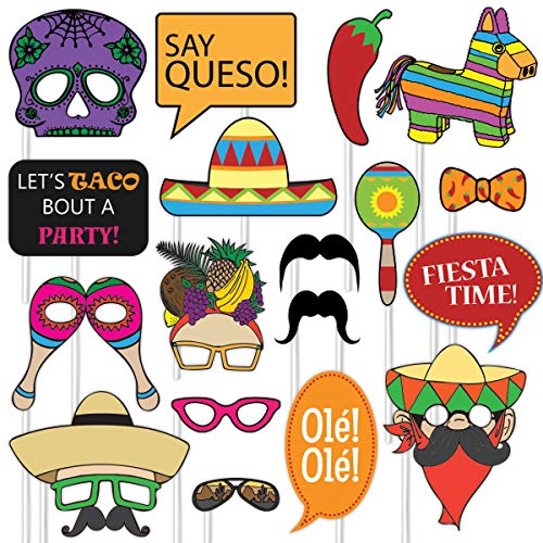 Fiesta Photo Props (32 Pieces) for Photo Booths, Selfies, Great for Cinco De Mayo Themes, Day of the Dead Parties and More! Party Favors are Pre-Made (Not DIY) for Your Convenience!]()