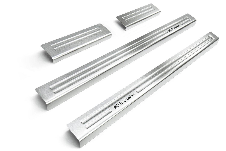 tuning-art L343R-EX136R Set Soglie delle porte in acciaio inox + protezione paraurti, Colore acciaio inossidabile:Argento spazzolato
