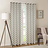 Cheap Hyprest Lattice Printed Linen Curtains Window Treatment Thermal Blackout Room Darkening Window Drapes for Bedroom 2 Panels Set – 8 Grommets per Panel by (72″ W x 84″ L)