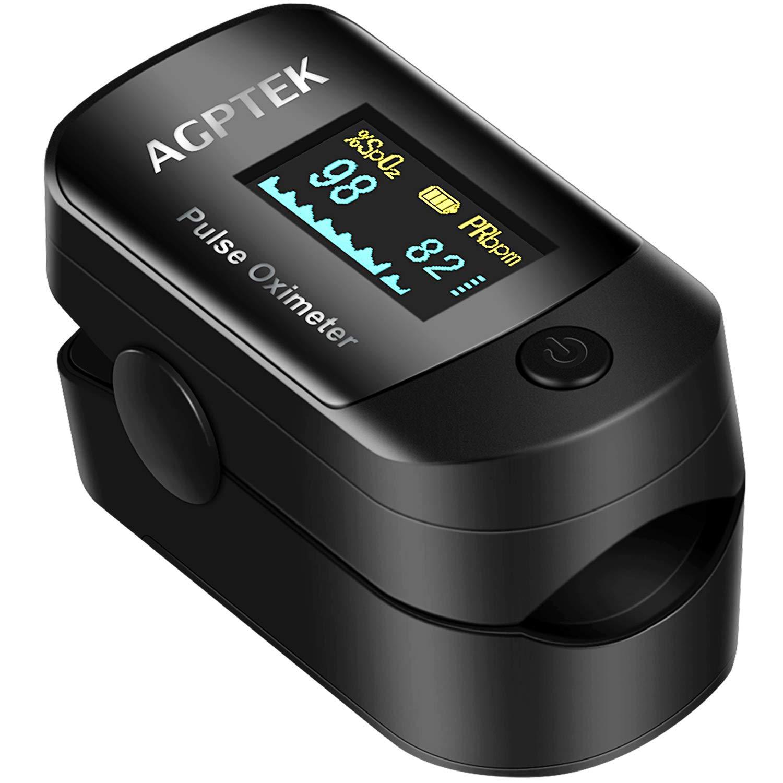 Oxímetro de Pulso de AGPTEK, Pulsioxímetro de Dedo y Monitor de Frecuencia Cardíaca con Pantalla OLED, Alarma y Función de Auto-Apagado ect, Color ...