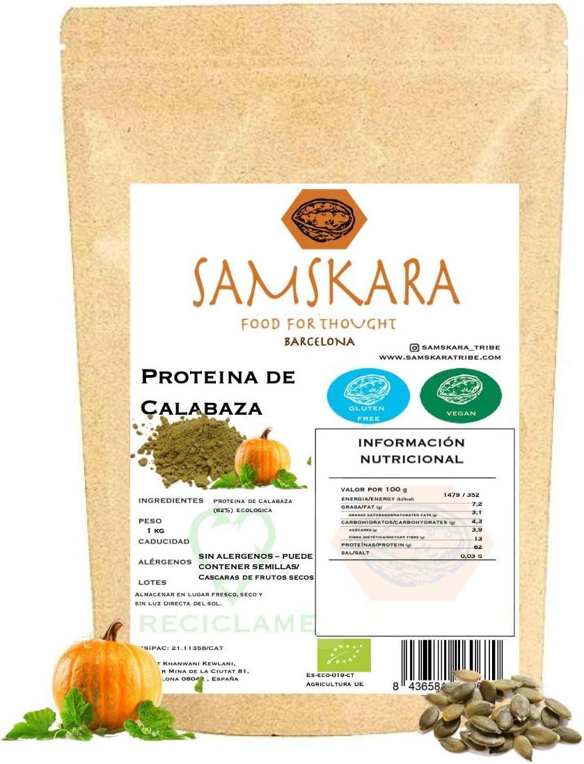 Proteina de Semillas de Calabaza (62% proteico) en Polvo   Ecológico Bio   de agricultura Europea   Samskara food for thought   Pumpkin Seed Protein - Vegano Sin Gluten 100% Natural (500gr)