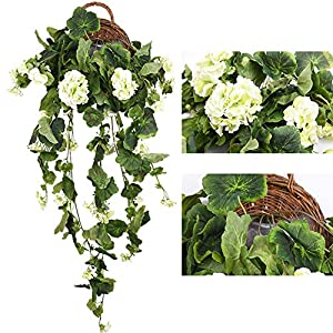 Lopkey Artificial Silk Begonia flowers Vine Wall Hanging Basket Decor 41