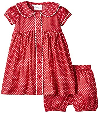 67cc95a5d377 Rachel Riley Baby-Girls Heart Button Front and Bloomer Dress: Amazon ...