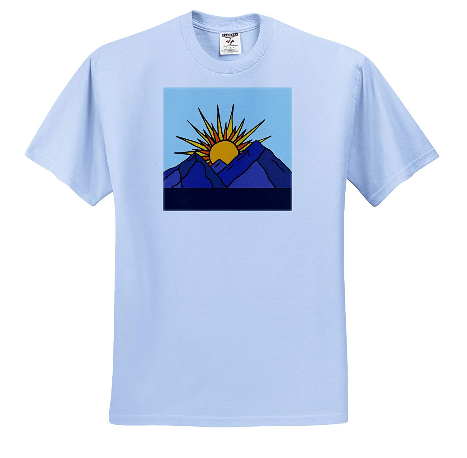 Cool Artistic Sun Rise and Mountains Design 3dRose All Smiles Art ts/_315991 Travel Adult T-Shirt XL
