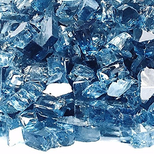 Fire Glass Plus 1/2' Blue Lagoon Reflective Fire Glass for Indoor, Outdoor, Natural Gas or Propane Fireplaces, 10 Pounds - H-BLR-10