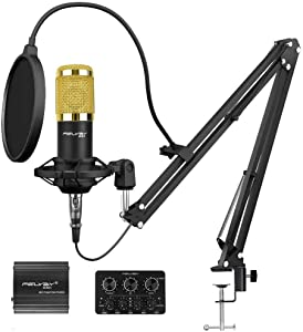 Recording Condenser Microphone, FELYBY Professional Studio Cardioid Mic Kit, Microphone with XLR Cable for Singing/YouTube/Streaming/Podcasting/Zoom Meeting