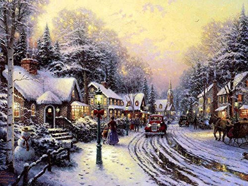 - Village Christmas - Thomas Kinkade -Oil Painting On Canvas Modern Wall Art Pictures For Home Decoration Wooden Framed (12X16 Inch, Framed)