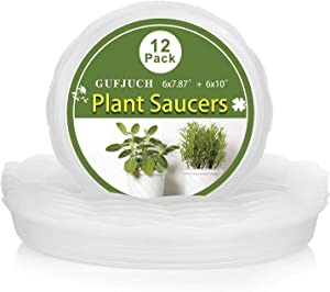 GUFJUCH 12 Pack Clear Plant Saucers, Flower Pot Drip Trays for Indoor and Outdoor Plants Pot