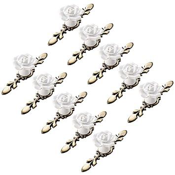 Creatwls M/öbelgriff Stangengriff K/üchengriff Schrankgriff Griff mit Keramik Rose Blume Kn/öpfe Haus Dekoration M/öbelkn/öpfe M/öbelknopf 10pcs
