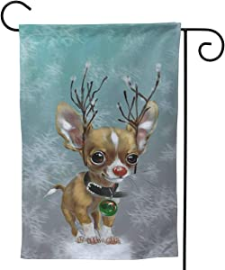 Only Pineapple Funny Chihuahua Art Christmas Reindeer Dog Seasonal Family Welcome Double Sided Garden Flag Outdoor Funny Decorative Flags for Garden Yard Lawn Decor Party Gift Many Sizes