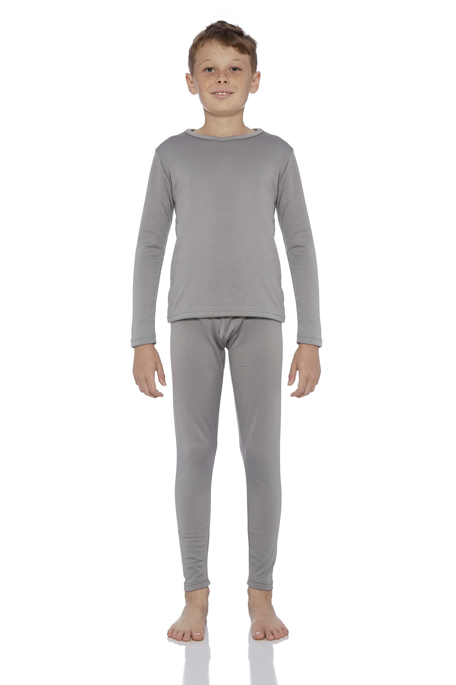 Rocky Boy's Fleece Lined Thermal Underwear 2PC Set Long John Top and Bottom (XS, Grey)