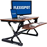 "FlexiSpot M2MG Standing Desk - 35"" W Height Adjustable Stand up Desk Computer Riser with Removable Keyboard Tray (Medium size Mahogany)"