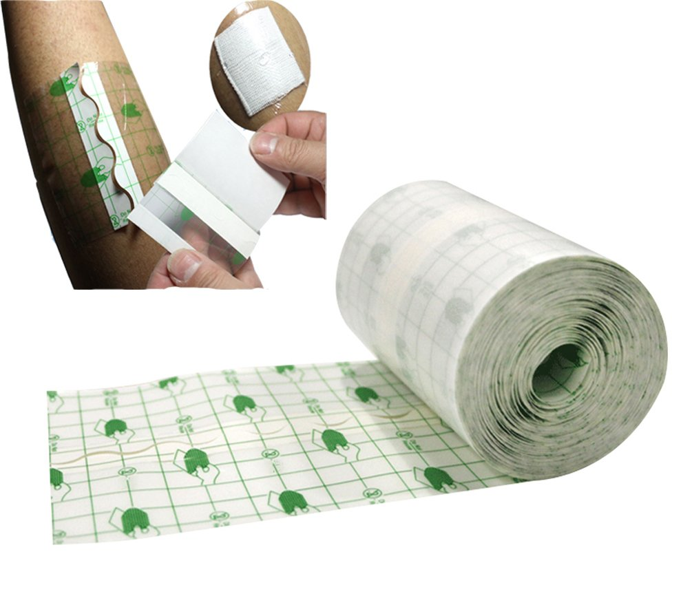 Funwill Transparent Stretch Adhesive Bandage Tape Retention Dressing Tapes- Hypoallergenic,Waterproof (3.93'' x 10.93 Yards)