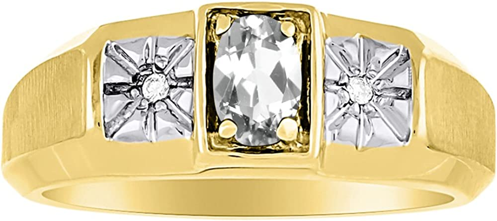 Birthstone Ring Sterling Silver or Yellow Gold Plated Silver White Topaz /& Diamond Ring
