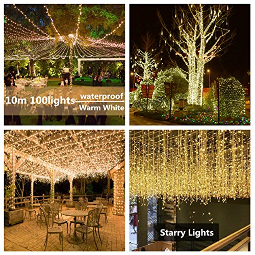 GoZheec LED String Lights 33ft 100 LED Copper Wire Fairy Lights Patio Wedding Tree Party Christmas Thanks Giving Indoor and Outdoor Starry String Lights(Warm)