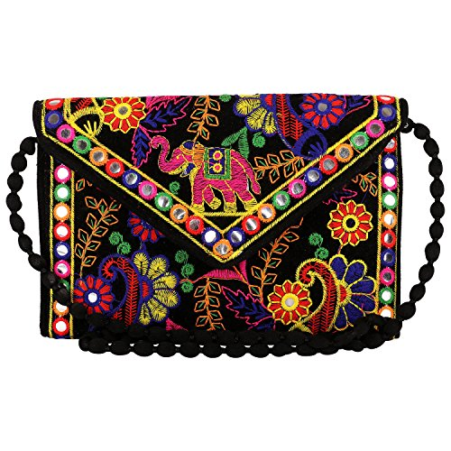 Craft Trade Handmade Designer Embroidered Rajasthani Envelope Clutch Bag For Women's