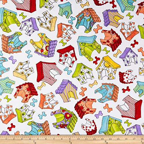 Loralie Designs Joy Dog Happy Houses Fabric, White, Fabric By The Yard