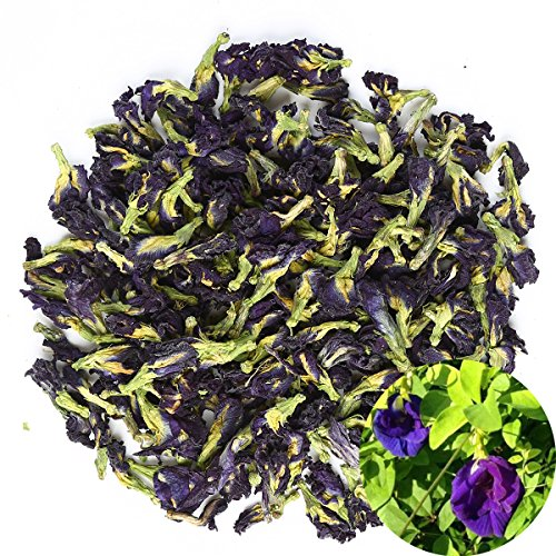 (TooGet Organic Dried Pure Butterfly Pea Flowers, Natural Clitoria ternatea Herbals Blue Tea Wholesale, Top Grade - 2 OZ)