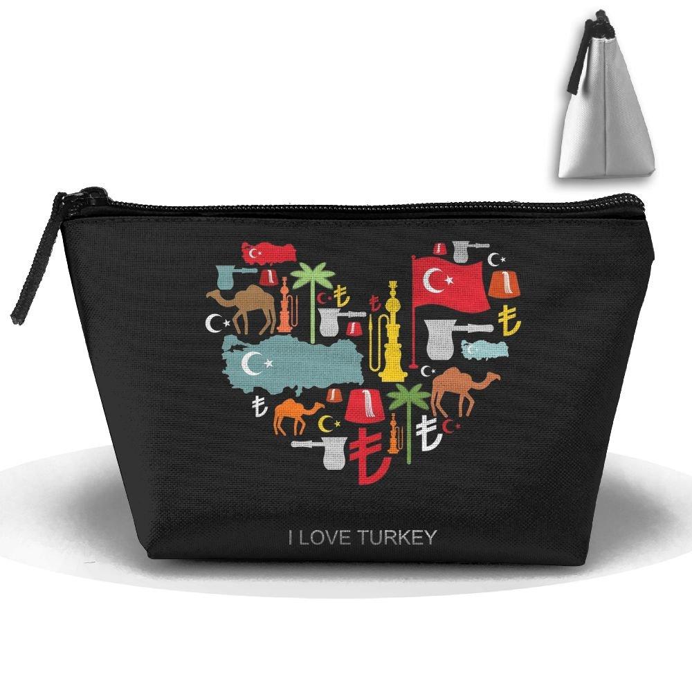 Simoner I Love Turkey Large Capacity Storage Bag Makeup Package Trapezoidal