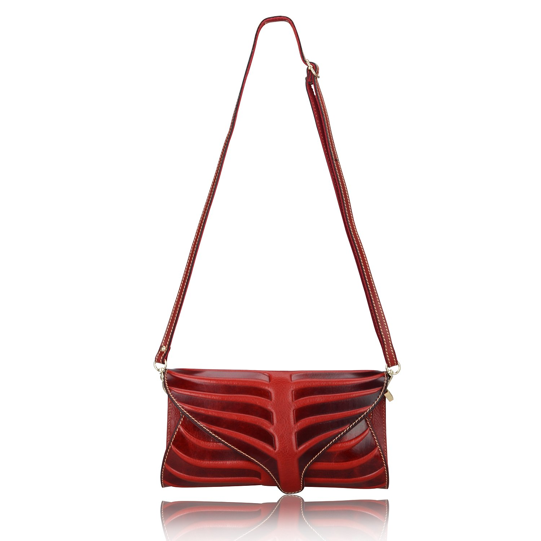 Pijushi Leaf Designer Handbags Embossed Leather Clutch Bag Cross Body Purses 22290 (One Size, Red) by PIJUSHI (Image #3)