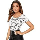 Milumia Women's Geo Print Scallop Round Neck Short Sleeve Blouses Shirt Tops