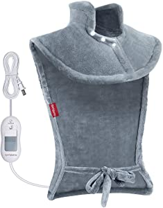 """Heating Pad for Neck and Shoulders, Comfytemp XL 24""""x33"""" Electric Heat Wrap for Back Pain and Cramps Relief with Auto Shut Off, 3 Heat Settings, Soft Flannel, Moist Heat Therapy - Machine Washable"""