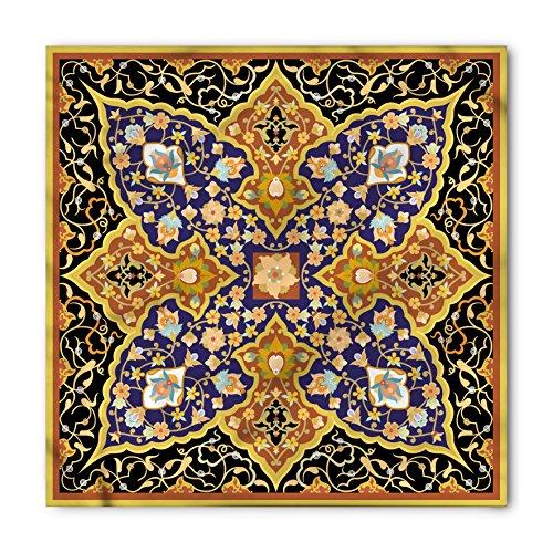 Arabian Bandana by Lunarable, Arabic Islamic Floral Mosaic Patterns South Eastern Antique Orient Ottoman Artwork, Printed Unisex Bandana Head and Neck Tie Scarf Headband, 22 X 22 Inches, Multicolor