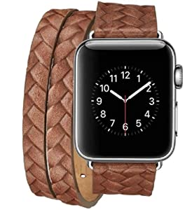 Compatible for Apple Watch Bands 38mm 40mm 42mm 44mm Woven Texture Wristband (Brown, OneSize)