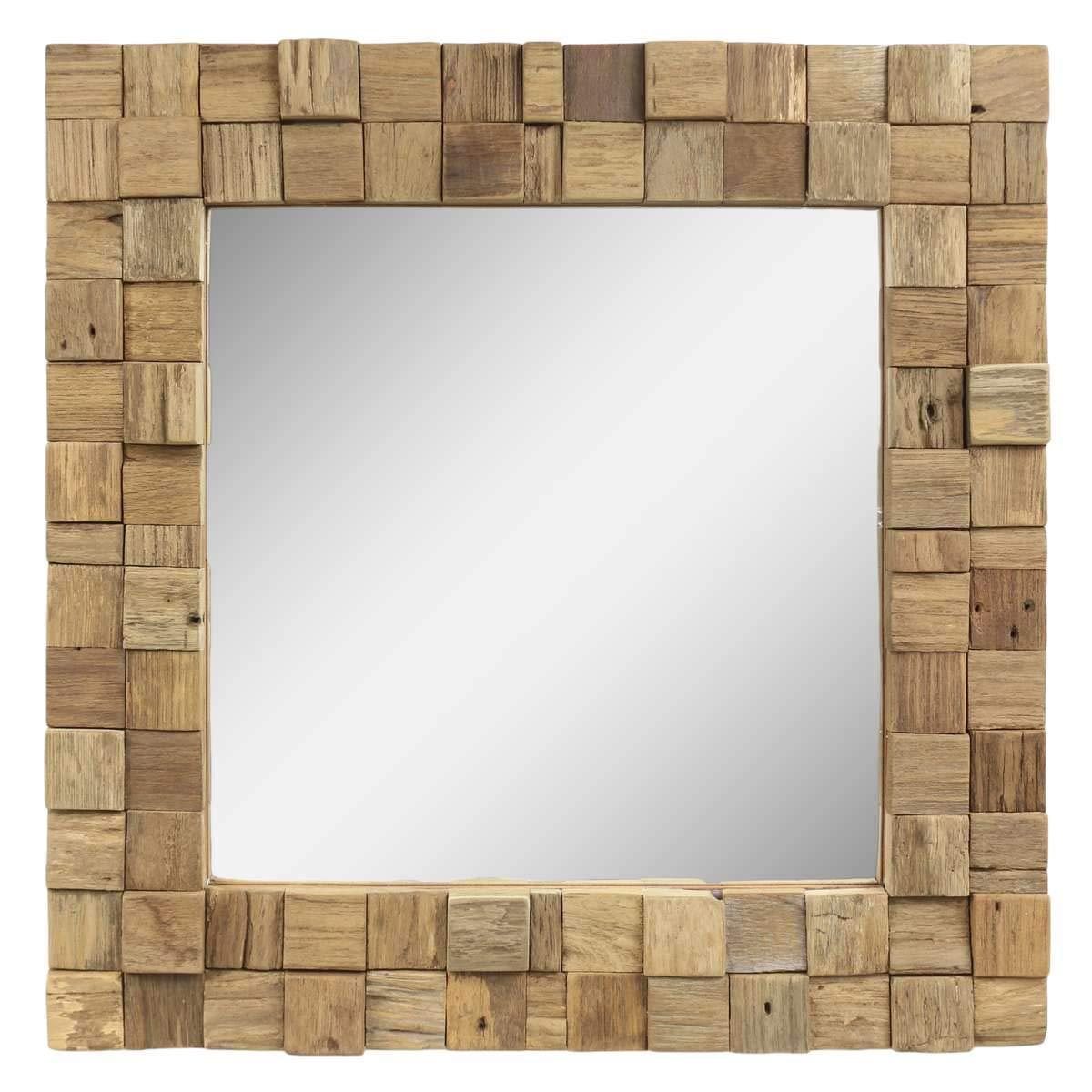 Oriental Galerie Dekorativer Spiegel mit Holzrahmen Mosaik Quadratisch Wandspiegel aus Thailand Massiv Würfel Holz-Spiegel ca. 50 x 50 cm Nr. 19