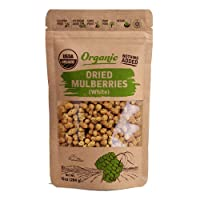 Organic Dried White Mulberries - Sun Dried - %100 USDA Organic Certified Premium Quality - Carefully Dried White Mulberries - Non Gmo, Pesticide and Herbicide Free - Turkey Grown- 10 Oz