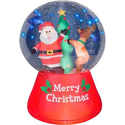 christmas inflatable lightshow led snow globe 55 santa reindeer decorating christmas tree