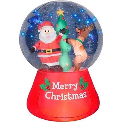 Amazon.com: Christmas Inflatable LightShow LED Snow Globe 5.5' Santa ...