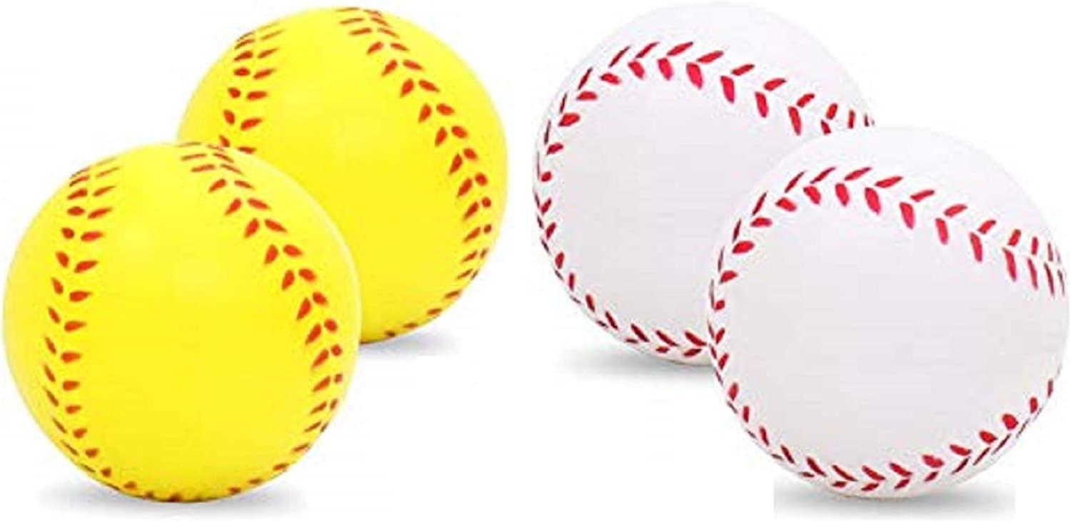 "ETCBUYS 2.5"" Soft Foam Baseball Style Stress Relief Ball - Hand Squeeze Soft Foam Ball - Stress Relief Toys for Kids & Adults, Decoration Accessory, Office Desk Supplies, Playtime Activity - 4 Pack"