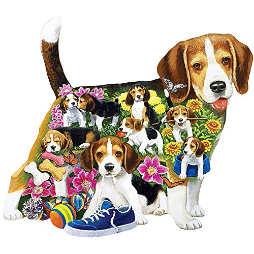 Bits and Pieces - 750 Piece Shaped Puzzle - Beagle Brigade, Beagle Dog Puppies - by Artist Jack Williams - 750 pc Jigsaw