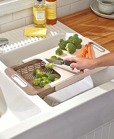 Large Over Sink Cutting Board Plastic Collapsible Colander Set Dishwasher  Safe