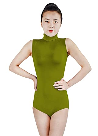 a2b96f00acd9f Ensnovo Womens Spandex Sleeveless Turtleneck Bodysuit Leotards with Back  Zipper Army Green