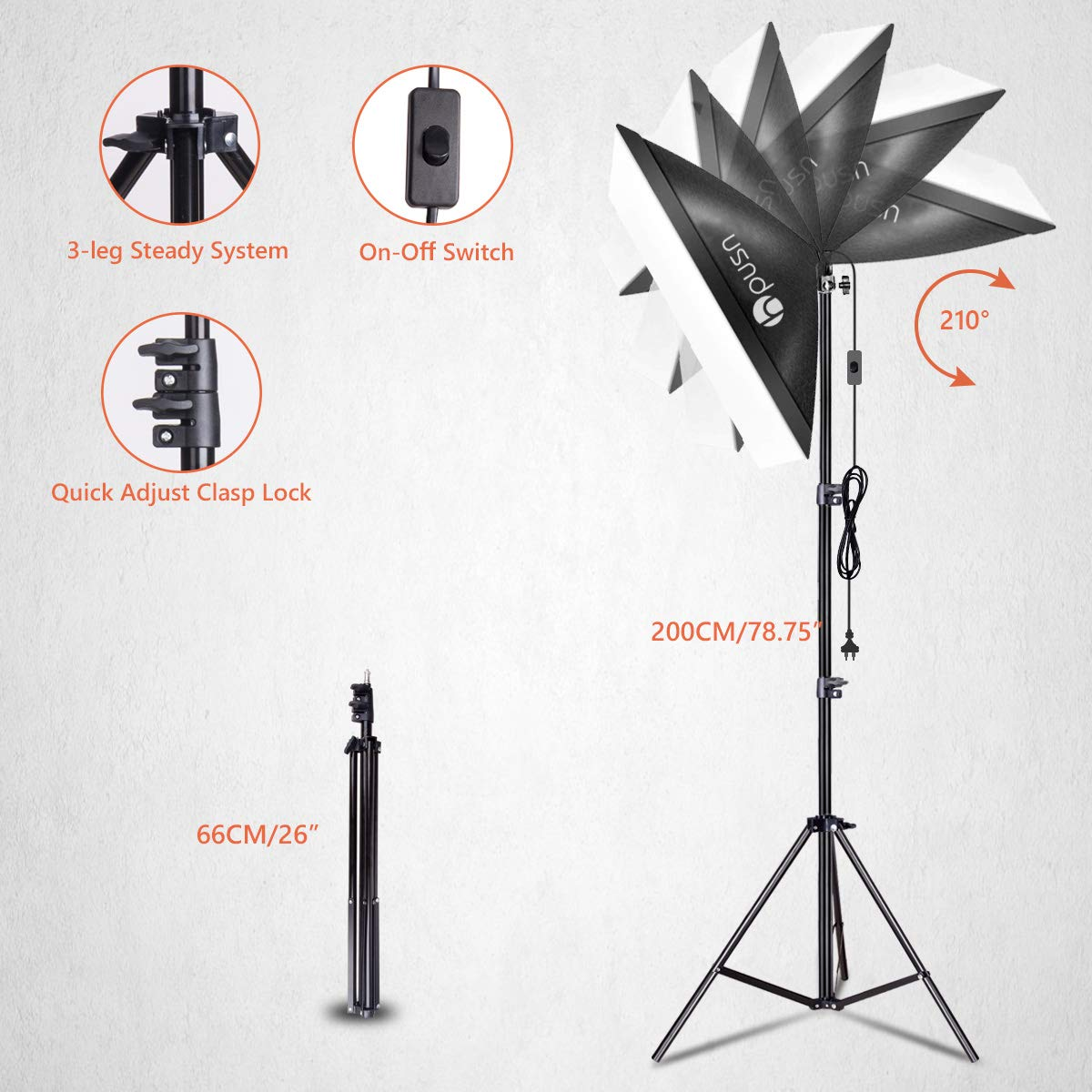 HPUSN Softbox Lighting Kit Professional Studio Photography Continuous Equipment with 85W 5500K E27 Socket Light and 2 Reflectors 50 x 70 cm and 2 Bulbs for Portrait Product Fashion Photography by HPUSN (Image #2)
