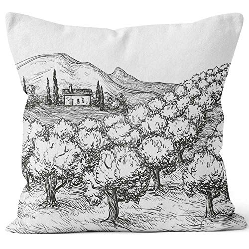 Nine City Olive Grove Landscape Throw Pillow Cushion Cover,HD Printing Decorative Square Accent Pillow Case,40