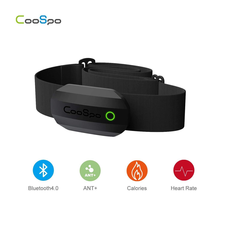 CooSpo Sensor de Frecuencia Monitor de Frecuencia con Banda Pectoral Frecuencia Cardiaca Bluetooth 4.0 Ant Compatible con Wahoo Garmin Zwift Strava Runtastic iCardio DDP Yoga concept2 pm5