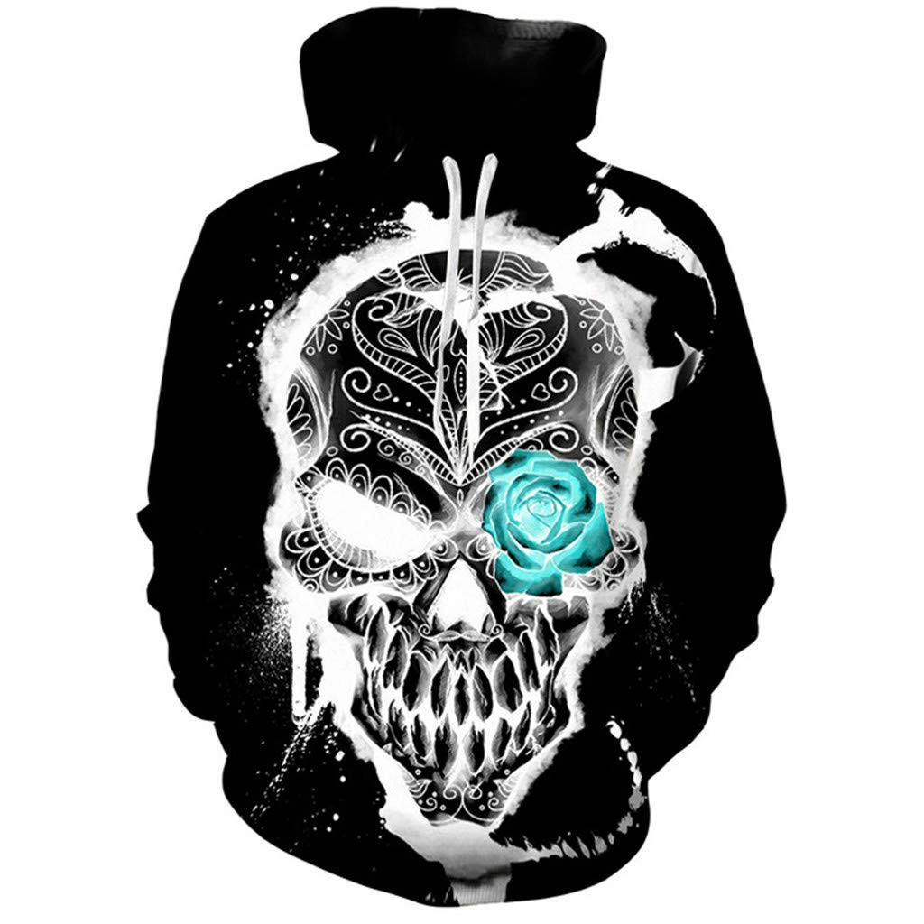 AcisuHu Hoodie Boys Girls 3D Digital Print Halloween Sweatshirt Hip Hop Long Sleeve Unisex Pullovers Winter Streetwear,XXXL