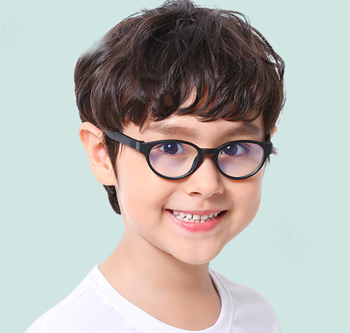 Round-pink Occhiali per videogiochi per bambini FOURCHEN Occhiali luce blu bloccanti per il blocco della cefalea UV,Occhiali anti blu per bambini Occhiali per computer