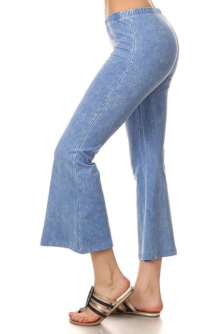Denim Cropped Yoga Pants Light Blue